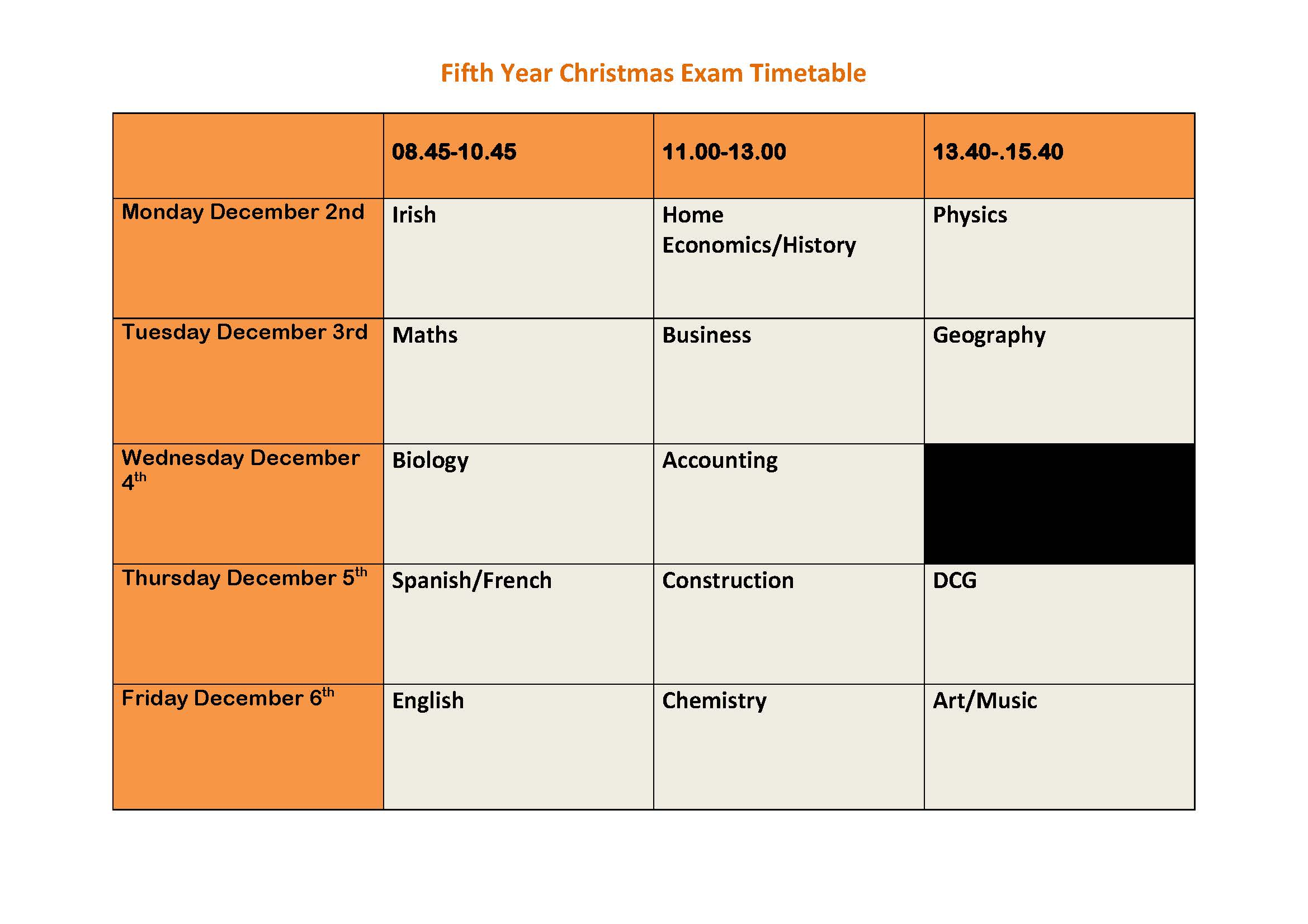 Fifth Year Christmas Exam Timetable