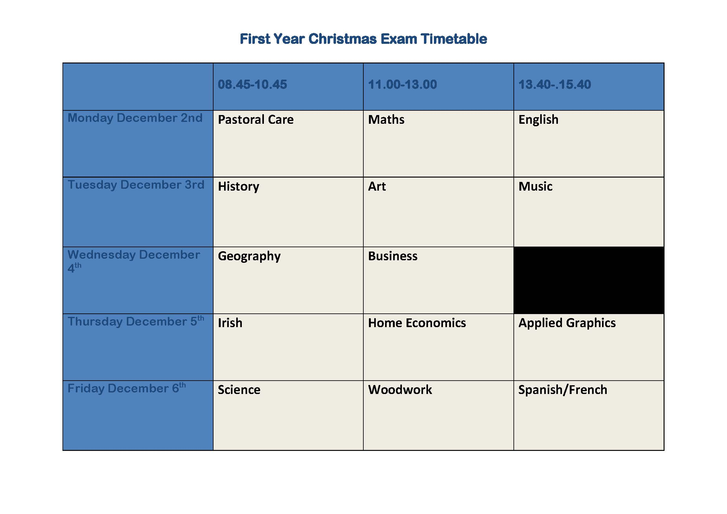 First Year Christmas Exam Timetable
