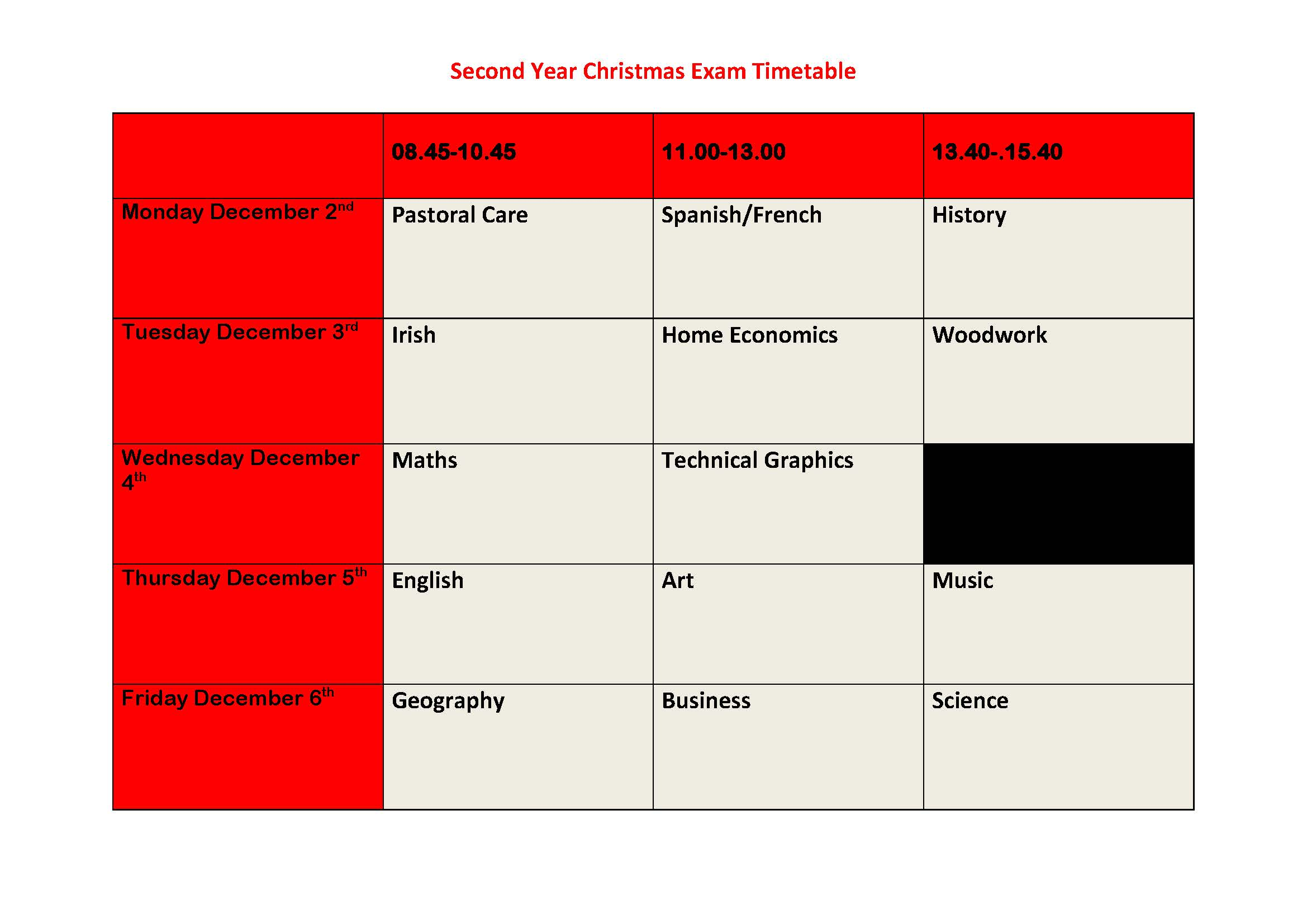 Second Year Christmas Exam Timetable